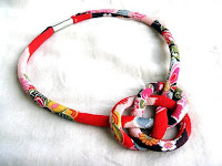 Kimono Fabric Necklace with knot feature