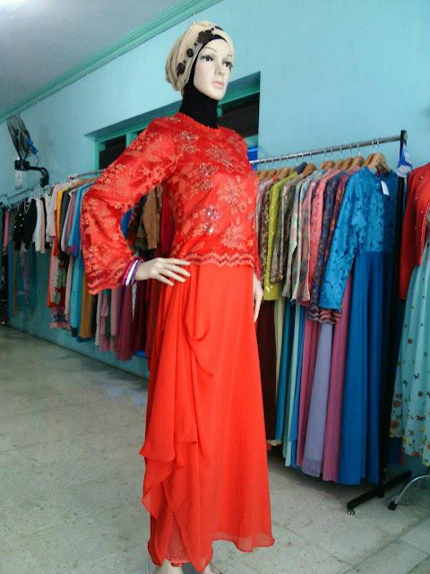 Model Gamis Pesta Sifon dan Brokat Murah Terbaru Warna Merah