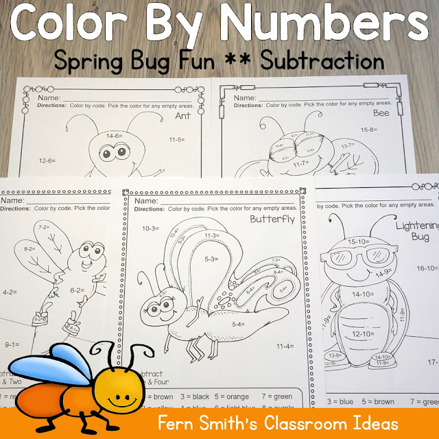 Looking For Some New Spring Subtraction Color By Numbers for Your Class? Color By Numbers Spring Bug Fun Subtraction Resource. FIVE Color By Numbers Subtraction Spring Bug Fun with Numbers - Color By Numbers Printables for some Spring Math Fun in your kindergarten or first grade classroom! #FernSmithsClassroomIdeas