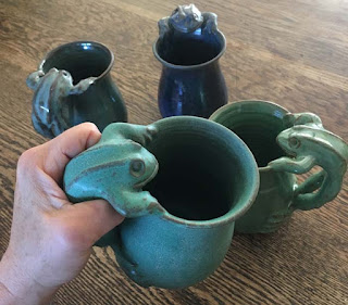 Funkware Pottery: Jumping Frog Handle Frog Mug.