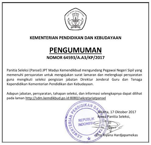 Pendaftaran Seleksi Terbuka dan Resmi Posisi  Pendaftaran Seleksi Resmi Dirjen GTK Kemendikbud Tahun 2017