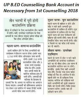 UP B.Ed Counselling 2018 2nd 3rd Seat Allotment, College List