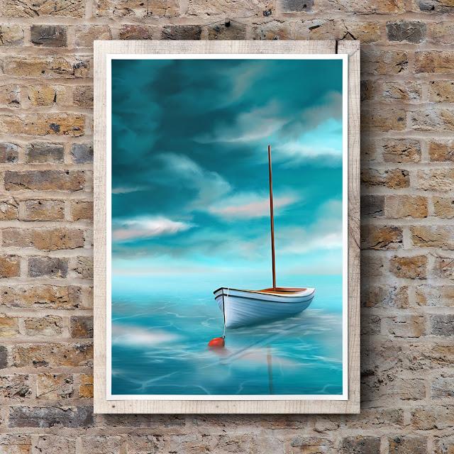 Adrift on Turquoise Waters by Mark Taylor, seascape art, landscape art, boat art, cloud formations,