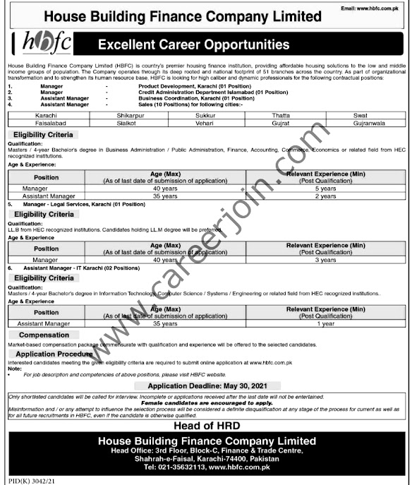 Latest Jobs in House Building Finance Company Limited 2021