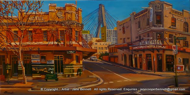 plein air oil painting of Anzac Bridge, derelict Terminus Hotel and Point Hotel in Pyrmont  by industrial heritage artist  Jane Bennett