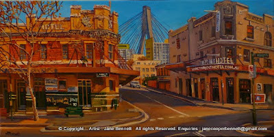 Plein air oil painting of the Terminus Hotel and Point Hotel with the Anzac Bridge in  Pyrmont  by industrial heritage artist Jane Bennett