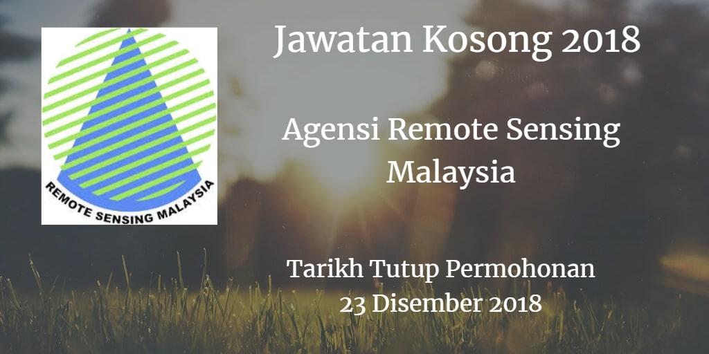 Jawatan Kosong Agensi Remote Sensing Malaysia 23 Disember 2018
