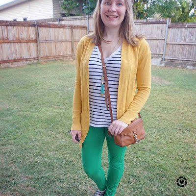 awayfromblue mustard cardigan green skinny jeans cotton on striped tee winter school run outfit