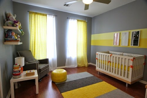 cuarto bebé gris amarillo