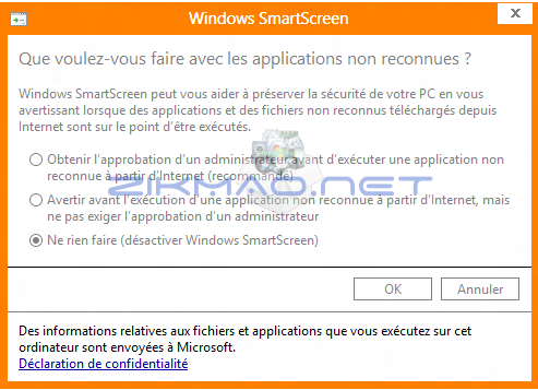 Désactiver Windows SmartScreen Windows 8