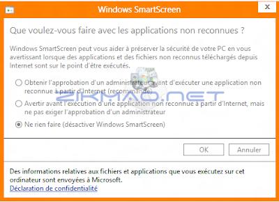 Désactiver Windows SmartScreen Windows 8