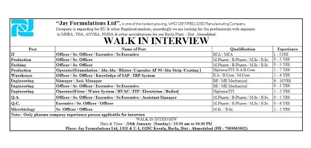 Jay Formulations   Walk-in interview for Multiple Departments on 24th Jan 2021