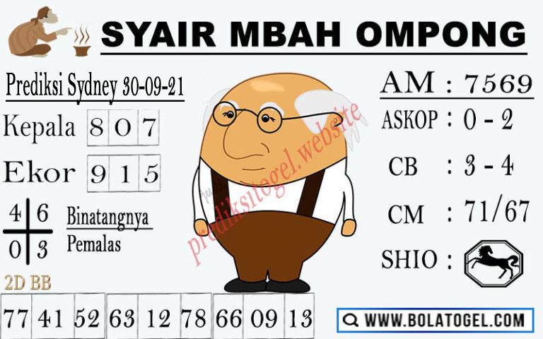Syair Mbah Ompong Sidney Kamis 30-Sep-2021
