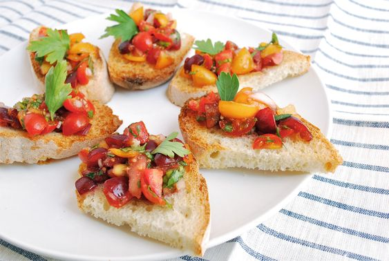 Tomato Bruschetta with Sweet Cherries