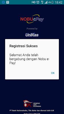 Aplikasi NobuePay berhasil daftar