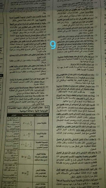مراجعة وتوقعات الفيزياء للصف الثالث الثانوى من جريدة الجمهورية 9