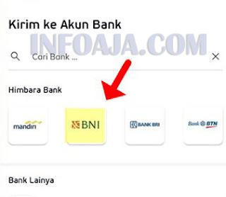 Kirim saldo linkaja ke bank
