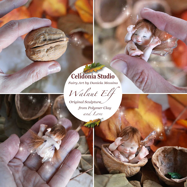 Walnut Elf ooak Mini Art Doll in Polymer Clay