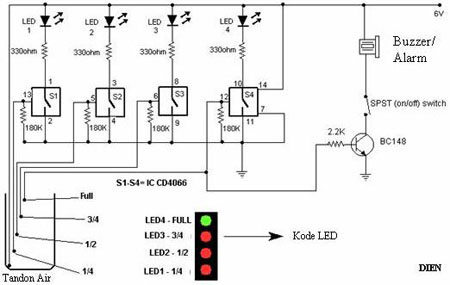 Rangkaian Alarm Sederhana Indikator Tandon Air