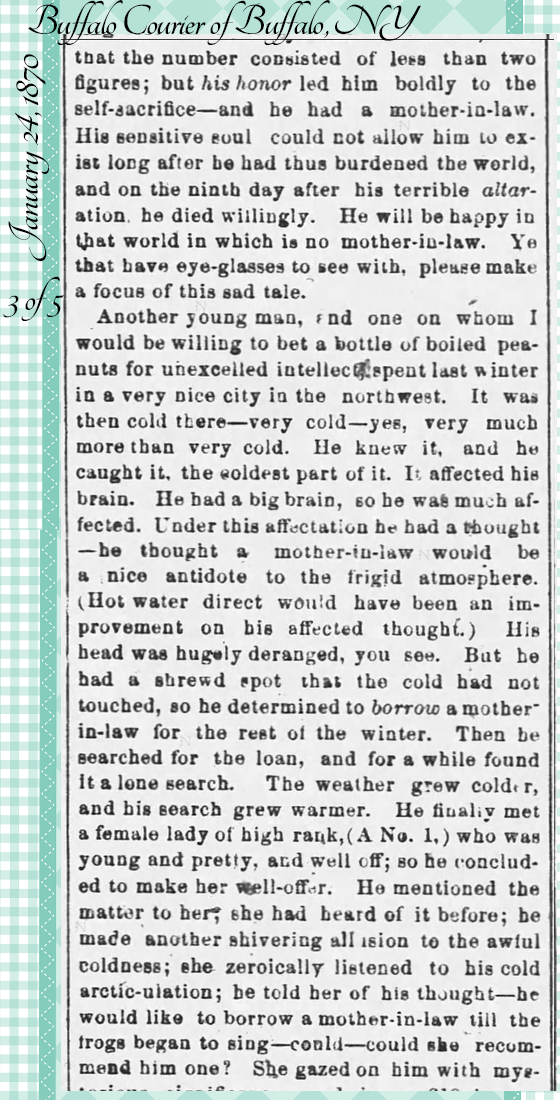 Kristin Holt | the Victorian-American Mother-in-Law. From Buffalo Courier of Buffalo, NY on January 24, 1870: Hugh Murr on Mothers-in-Law. Part 3 of 5.