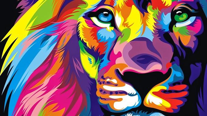 Plano de Fundo Abstrato Colorido Leão