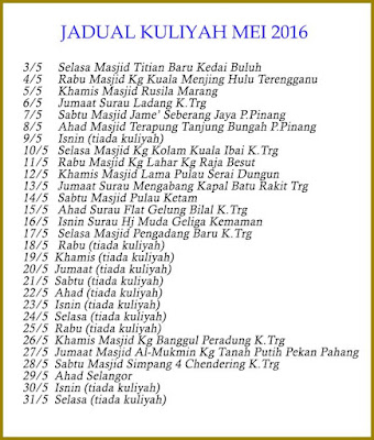 Jadual Kuliah Ustaz Azhar Idrus Bulan MEI 2016
