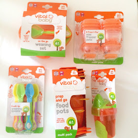 weaning products, spoons, pots, cups