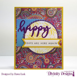 Divinity Designs Stamp/Die Duos: Happy, Mixed Media Stencil: Flower Burst, Custom Dies: Scalloped Circles, Scalloped Squares, Circles, Double Stitched Pennant Flags, Pennant Flags, Paper Collections: Boho Bold, Beautiful Boho