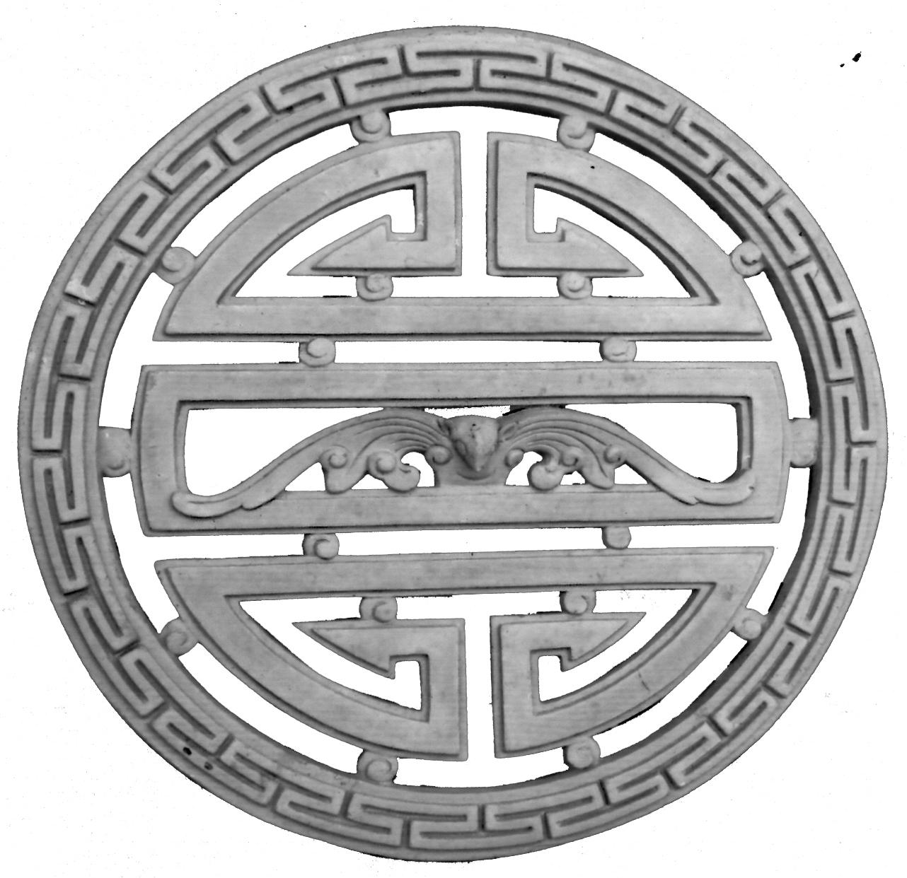 Hoa văn chữ thọ xi măng trang trí đình chùa
