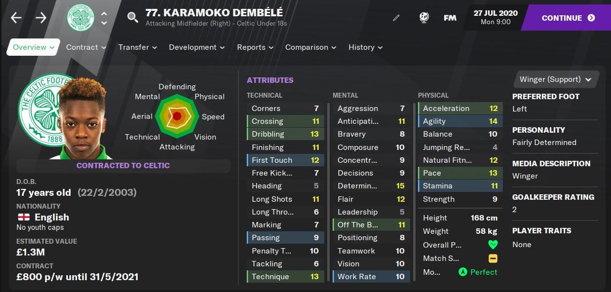 Karamoko Dembélé, Celtic FC, Football Manager 2021 FM21