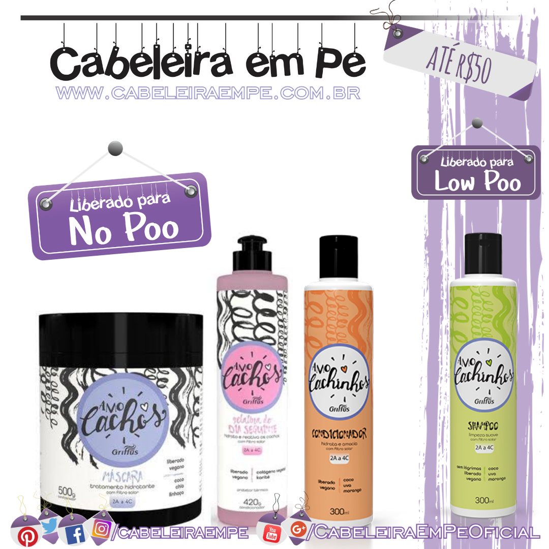 Shampoo (Low Poo) e Condicionador Amo Cachinhos & Máscara e Gelatina Day After Amo Cachos (Liberados para No Poo) - Griffus - Kit Low Poo Barato
