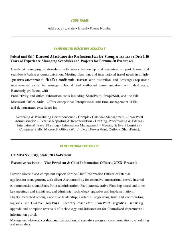 download best executive assistant resume examples  resume