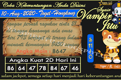 Syair Vampir Jitu Togel Hongkong Senin 10 Agustus 2020