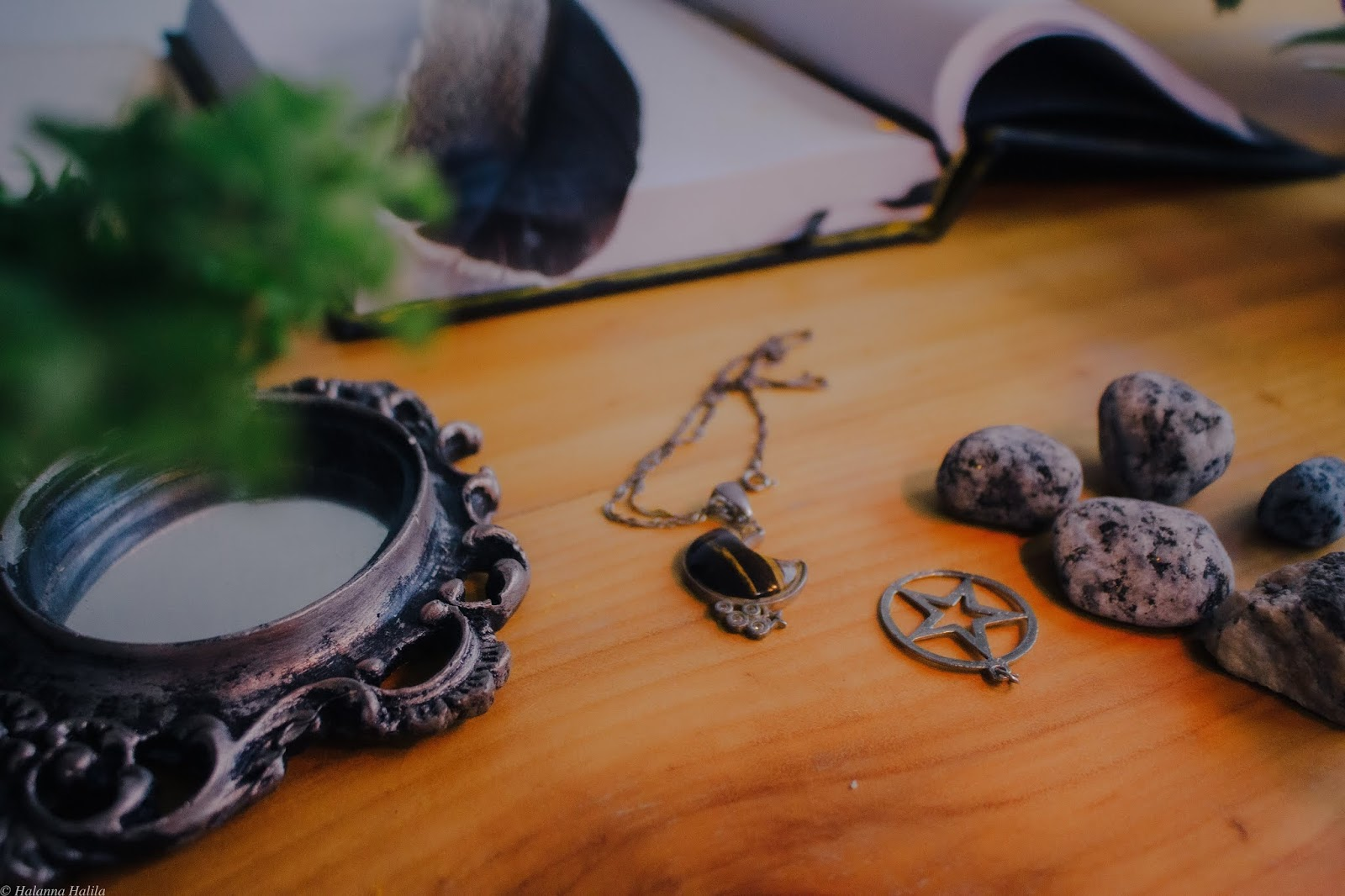 A photo of a light wooden table on which are some rocks, a pentacle pendant, a necklace with a jewelled crescent moon pendant, a vintage hand-held mirror, an open book with a feather on top, and a green plant