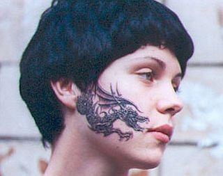Dragon facial tattoo