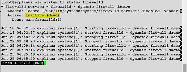 systemctl status firewalld dead