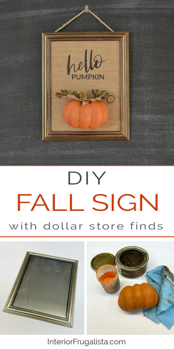 A unique DIY Hello Pumpkin Burlap Wall Art idea for Fall using inexpensive repurposed dollar store finds plus tips for how to print on burlap fabric. #diyfalldecor #burlapcraft