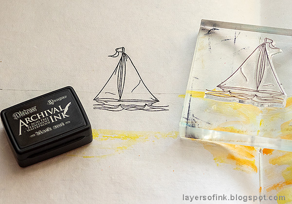 Layers of ink - Ocean Art Journal Page Tutorial by Anna-Karin Evaldsson. Stamp the ship.