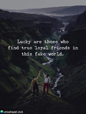 Lucky Are Those Who.  Find True Loyal Friends In  This Fake World..!!  Urdushayari.club  #Quotes #lines