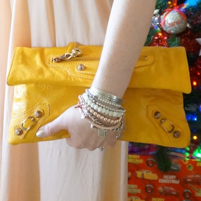 mixed metal bracelet stack, Balenciaga envelope clutch in 2012 mangue with giant 12 RGGH | awayfromtheblue