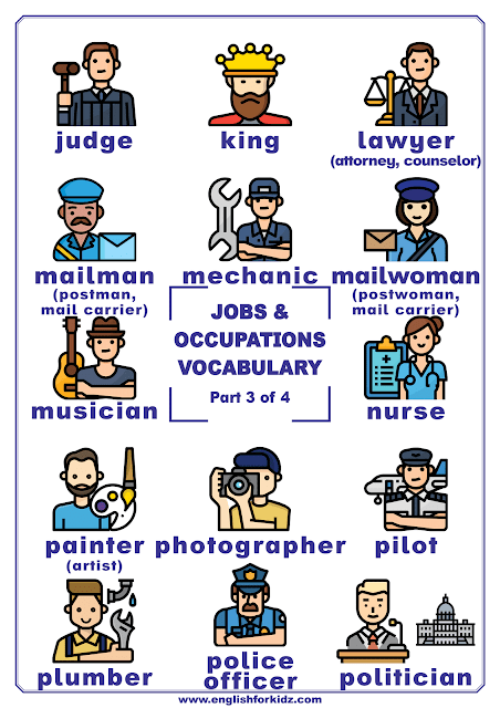 Jobs and occupations vocabulary for English learners