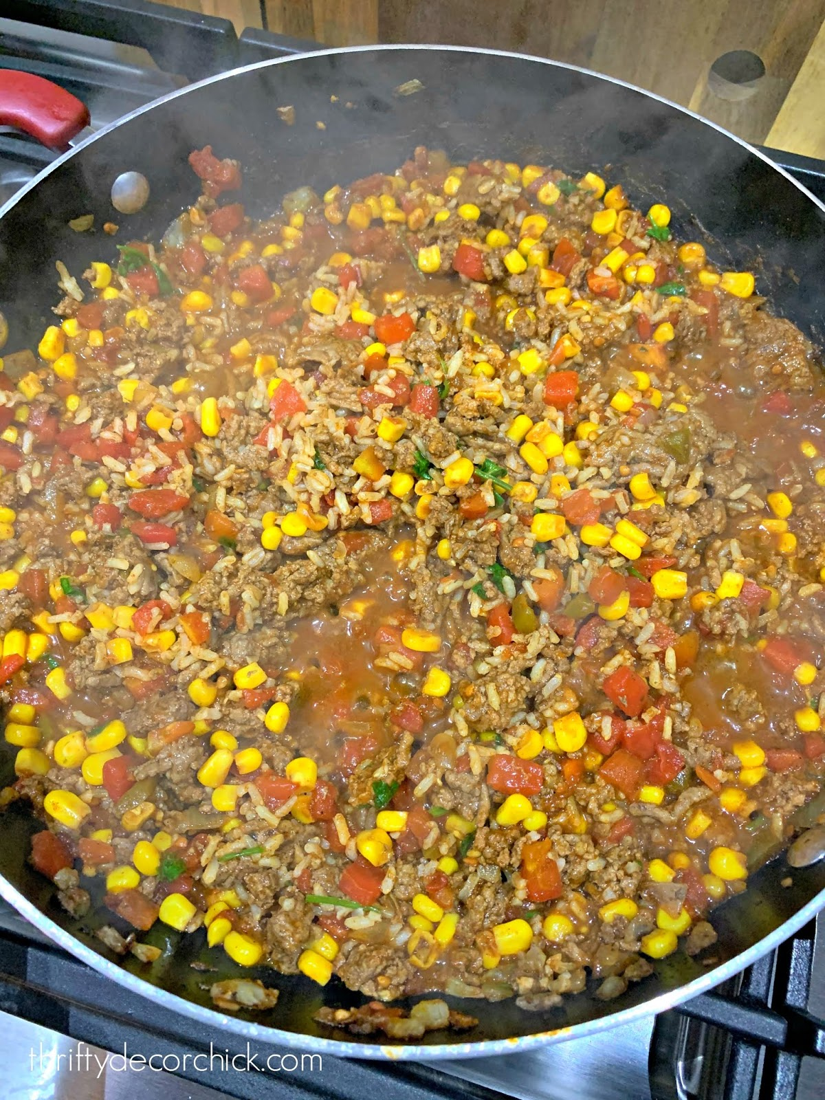 Easy beef and rice taco soup