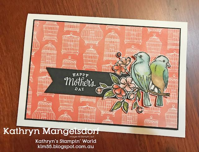 Stampin' Up! Bird Ballad Designer Series Paper, Mother's Day Card designed by Kathryn Mangelsdorf