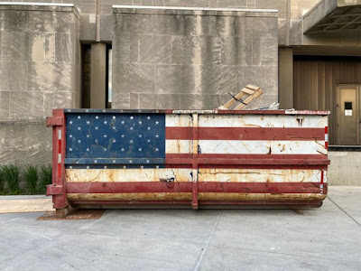 Dumpster painted as US flag