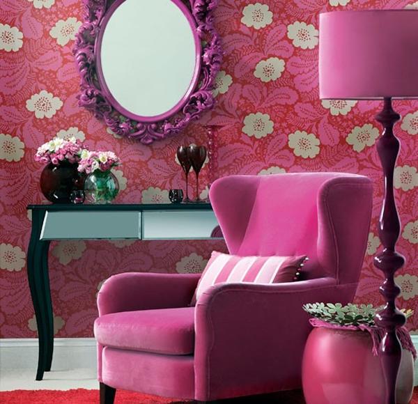 Wallpaper tema alam sentuhan warna pink