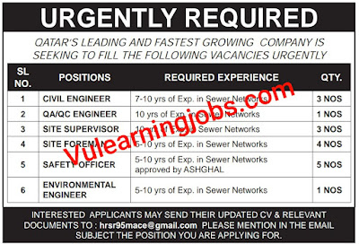Urgently Required Jobs 2020 In Qatar For Engineer, Supervisor, Foreman & Safety Officer Latest
