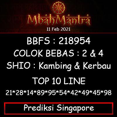 Prediksi Angka Singapore 11 Februari 2021
