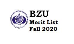 BZU Merit List Fall 2020 For BS & Master Programs