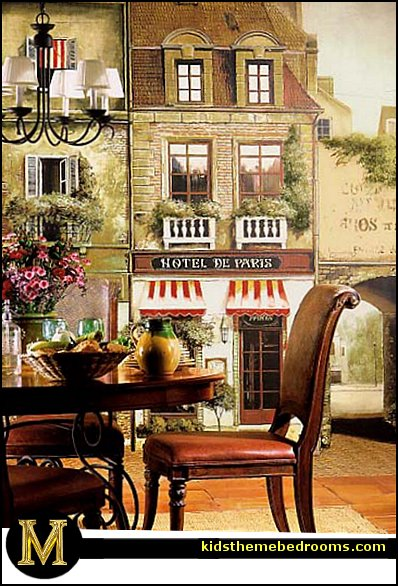 French cafe Paris Bistro style decorating ideas - French Country theme decorating ideas - French cafe theme decorating ideas - French country kitchens - French cafe decor - coffee themed decor - french coffee shop decor - Paris themed bedrooms - Paris themed decor  PARIS STREET SCENE MURAL