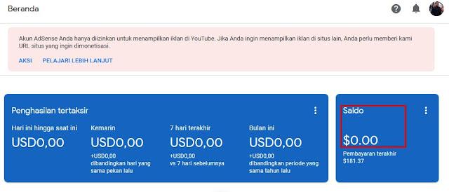Saya Di Bayar Youtube $181,37 Januari 2019
